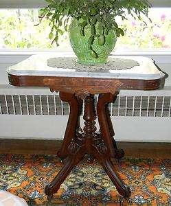 Antique Victorian Decorative Carved Walnut Marble Top Lamp Table