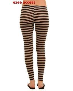 NEW WOMENS SEXY TRENDY STRIPED STRETCH FULL LENGHT 36 LEGGINGS TIGHTS