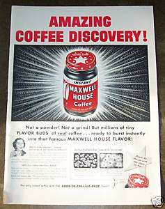1953 Maxwell House Coffee   Vintage Color Print Ad