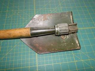 US WOOD Army Military Trench Foxhole Folding SHOVEL w/Cover