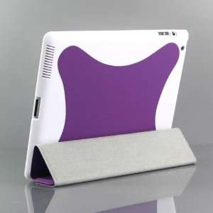 (Purple) leather case / Flip Stand Case with plastic case for iPad