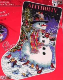 FRIENDS Stocking Snowman Birds Needlepoint Christmas Kit   L. Bywaters