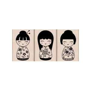 Wood Mounted Rubber Stamp: Three Japanese Dolls: Arts