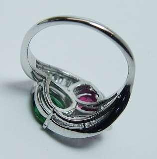 Gem Pink Green Tourmaline 1ct Baguette Diamond Platinum Estate Ring 8