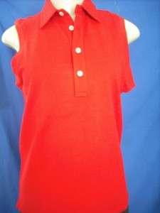 AUTHENTIC RALPH LAUREN GOLF RED PINK POLO SLEEVELESS SHIRT WOMEN $75