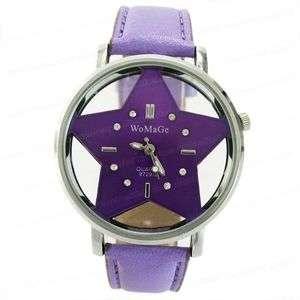 Purple Leather Ladies Star Wrist Watch DM418P