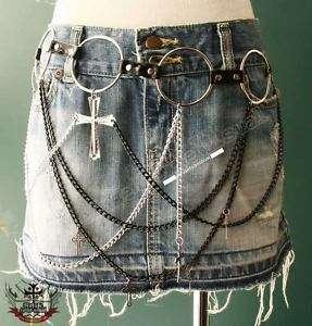 GOTHIC DOLL HANDCRAFT Skirt Hip Punk Rock Chain Belt #3
