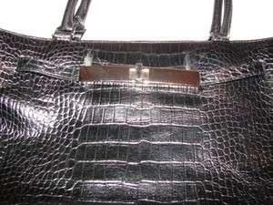 Ann Taylor Loft Black croco purse silvertone hardware