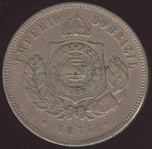 BRAZIL BEAUTIFUL 200 REIS 1874 HIGH GRADE COIN L@@k