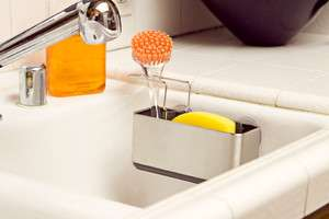 Stainless Steel Sink Caddy Scrubbers Organizer with Dividers ASTV278