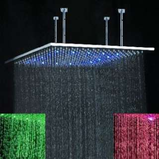 32 Square Stainless Steel LED overhead Shower Head T82
