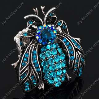 crystal blue rhinestone insect fly animal jewelry stretch silver ring