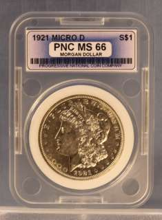 1921 Micro D MORGAN SILVER DOLLAR GUARANTEED AUTHENTIC MS 66 US COIN