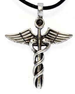 CADUCEUS Silver Pewter Pendant Leather Necklace Surfer