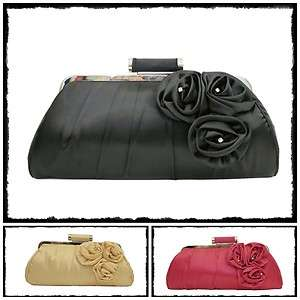 Satin Rose Bridal & Evening Party Clutch Handbag 350528