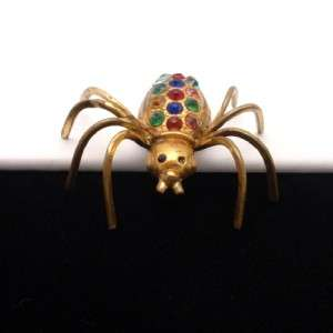Spider Pin Vintage Brass Multi Color Rhinestones Brooch