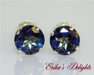 6mm Rd Tanzanite Blue Mystic Topaz Sterling Earrings