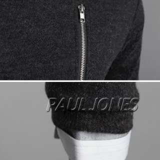 Slim Style Mens Round Neck side zip Casual Sweater/coat/jacket warm