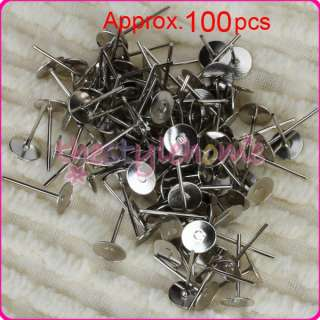 100pc 6mm Flat Pad Earring Post Studs Ear Findings DIY
