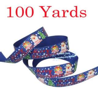 Christmas Santa Claus Blue Grosgrain Ribbon 100 YD
