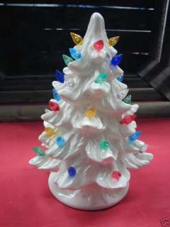 Lighted Ceramic Christmas Tree   White   7 Inch   New Mold