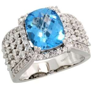 White Gold Large Stone Ring, w/ 1.48 Carats Brilliant Cut Diamonds & 4