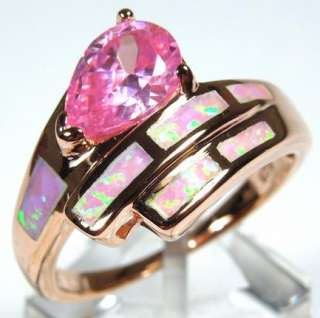 925 Sterling Silver Pink Fire Opal Inlay and Pink Topaz ring