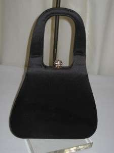 Vintage Black Satin Hand Bag w/ Rhinestone Closure