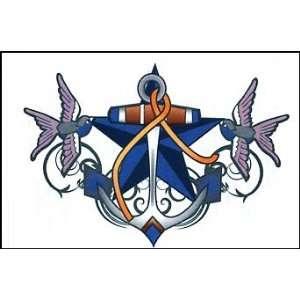 Anchor w/ birds & star Temporaray Tattoo: Toys & Games