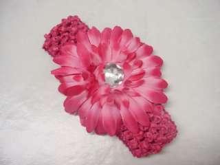 Flower stretch Crochet Headband Girl Baby Vivid Pink