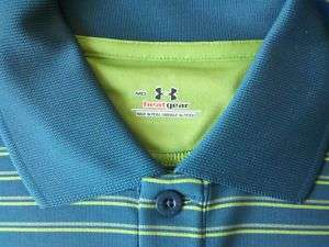 Under Armour Blue Green Stripe Polo Heat Gear Golf NEW 884961626116