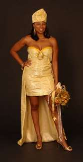 Hand Woven GHANA Custom Made Short/Mini WEDDING DRESS