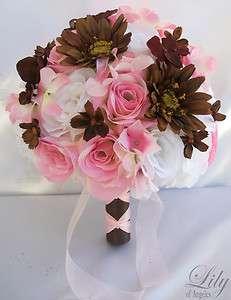 17pcs Wedding Bridal Bride Bouquet Flowers Decorations Package PINK