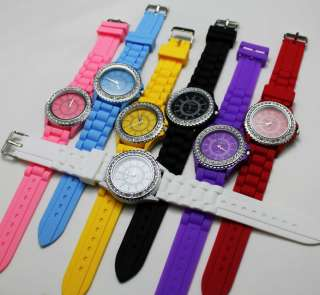 Classic Soft Rubber Silicone Crystal Jelly Watch Unisex 9 Color