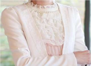 New Womens White Slim Lace Edge One Button Suit Jacket Outerwear XS S