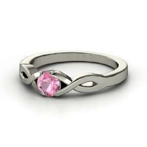 My Heart Ring, Round Pink Tourmaline 14K White Gold Ring Jewelry