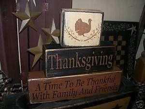 PRIMITIVE FALL HARVEST BLOCK SIGN~~THANKSGIVING~FAMILY~