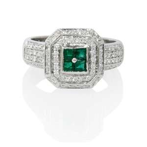 LEO PIZZO 18K WHITE GOLD DIAMOND & EMERALD RING