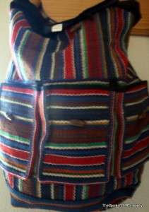 Hippie Gypsy Boho Handmade Multi Color 100 % Cotton 3 Pocket Backpack
