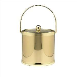 Shiny Brass 3 Quart Ice Bucket With Bale Handle And Metal Cover