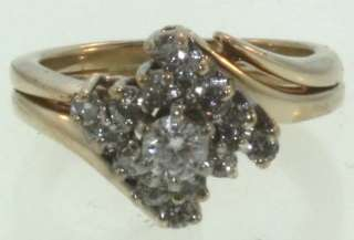 14k yellow gold .43ct engagement ring diamond vintage