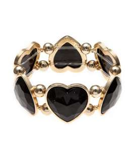 Black (Black) Black Heart Stretch Bracelet  241535601  New Look