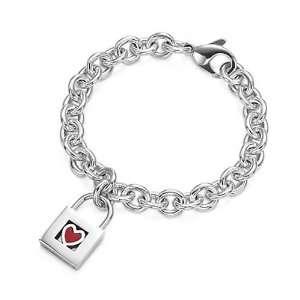 Sterling Silver Red Heart Lock Charm Bracelet Jewelry