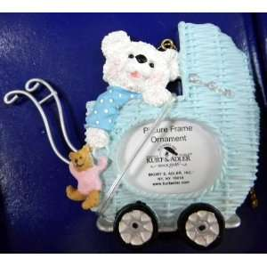 Kurt Adler Baby Carriage Teddy Bears Picture Frame Boys