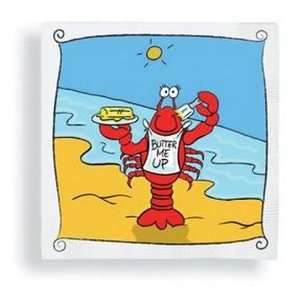 Coastal Lobster Butter Me Up Cocktail Beverage Paper Napkins:
