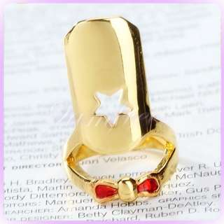 False Nail tip Ring Girl Lady Retro Punk Cool star Red Bowknot