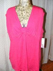 NY Collection Woman Cobra Snake V Neck Sleeveless Top Shirt Pink Plus