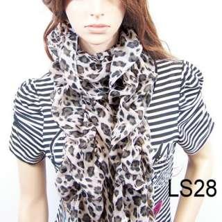 New fashion girls leopard scarf lace womens scarves shawl wrap stole