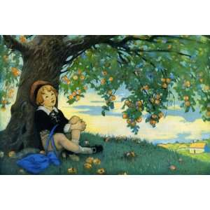Boy Under an Apple Tree 12X18 Art Paper with Gold Frame