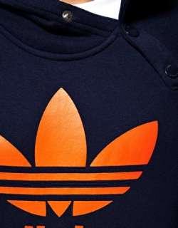 Adidas Originals   Felpa con cappuccio con bottoni e logo su
